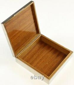 Gucci Of Italy c1970s Silver Plate Cigarette Box with Satinwood Interior