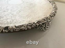 Highly Decorated Silver Plated On Copper Cake/wedding Cake Stand On 3 Feet