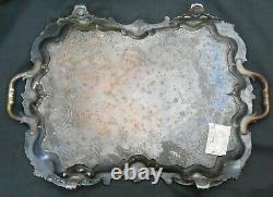 Huge Old Sheffield Plate Serving Tray Georgian Silver Plated Antique