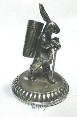 Interesting old WMF silver plated funny rabbit toothpick holder 9 x 6 cm Free