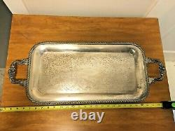 Large Heavy Silver Plated Serving Tray Ornate Vintage Antique Late 1800's