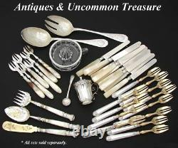 Lovely Antique Victorian Era Silver Plate & Mother of Pearl 3c Hors d'Oeuvre Set