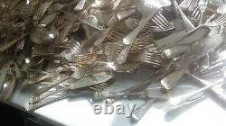Massive Mountain Job Lot Vintage Mainly Silver Plated Cutlery -approx 20kg