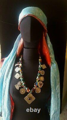 Morocco Berber necklace with silver plate, and various beads and stones