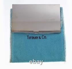 NEW Vintage Tiffany & Co Silver Plated Business Card Holder With Pouch