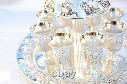 New gift Wine Fountain Kiddush & 8 Goblets Silver plate Judaica israel