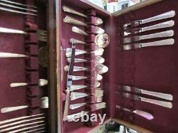 Oneida Prestige Bordeaux Flatware Silverware Set Silver Plate 69 Pc Set + Box