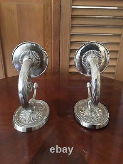 Ornate Silver Plate over Brass Wall Sconces