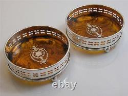 Pr Inlaid Silver Plate & Faux Tortoiseshell Trays