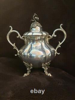 RARE DATED 1935 Reed & Barton Pumpkin & Vines Silver Plate Coffee Tea Sugar Set