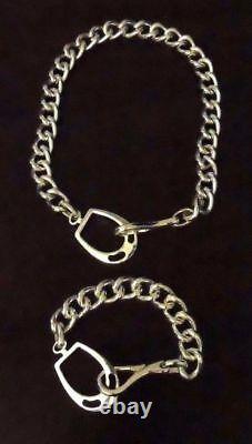 Ralph Lauren Equestrian Horse Shoes Bit Buckle Heavy Chain Silver Plate Bracelet