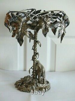 Rare Antique Elephant / Tree Silver Plate Table Centre Piece Elkington