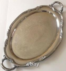 Reed Barton Chased Silver Plate Butlers Tray 1820 Floral Plume Border Handles