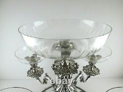 Reed & Barton Silver Plate Epergne Candelabra with 5 Crystal Bowls Plateau