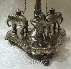 Scarce J. Dixon Sheffield Silver Plate Epergne Brides Bowl Stand With Elephants