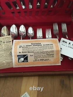 Set 1847 Rogers Bros Silver Plated Flatware 49 pcs svc/8 withBox