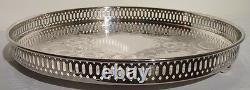 Silver Plate Round 12 1/4 Pierced Scroll Design Galley Serving Tray Marlboro