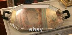 Silver plate tray Christofle Gallia Silver tray with handles Large silver tray