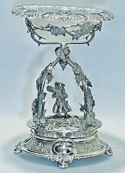 Stunning Pair Of Antique 18C European Silver Plate Center Pieces & Crystal Top