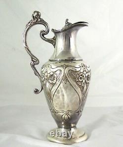 Superb Antique Large Art Nouveau 1900s Silver Plated Water Jug
