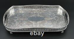 Superb Rectangle Footed Gallery Butlers Serving Tray 18 Silver Plate On Copper