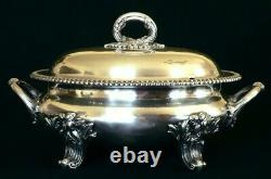 TUREEN with Lid, Sheffield plate, Rococo, Castle mark, 19th C, 15 long