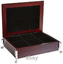 Tea Bag Organizer Storage Container Elegant Wooden Chest Tea Box Silver Plated
