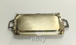 VTG Antique Silver On Copper Serving Handled Tray Victorian Silver-Plated Rare