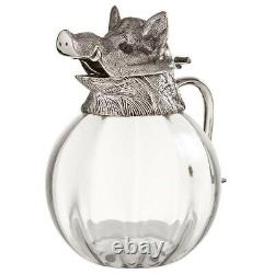 Valenti Glass Pitcher with Silver Plate Boars Head Top RARE Vintage 1960s