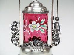 Victorian Silver Plate Pickle Castor With Hand Painted Flowers Glass Insert