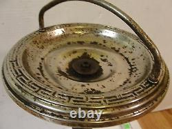Vintage Antique Silver Plate Ashtray Stand with Brass Bronze Figural Angel Baby