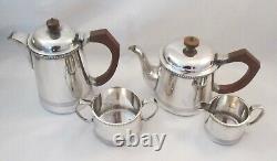 Vintage Art Deco 4 Piece Silver Plated Tea Set Walker & Hall