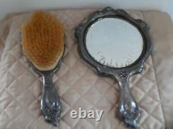 Vintage Art Nouveau Cherubs Vanity Mirror Brush Set Silver Plate