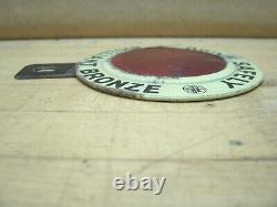 Vintage Brilliant Bronze Gas Oil License Plate Topper Badge Emblem Ford Chevy