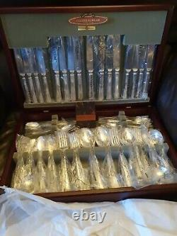 Vintage Ludlam Grecian 60 piece Silver plated EPNS A1 Cutlery Canteen 8 person