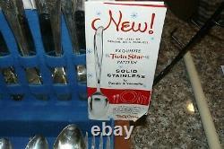 Vintage Oneida Tudor Plate Stainless Silverware Set 89 Pieces Queen Bess