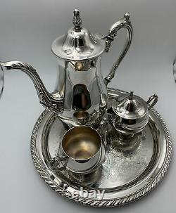 Vintage Oneida USA Silver plate Tea Coffee Service 4 Piece tray creamer sugar