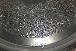 Vintage Ornate Silver Plate Round Tray Serving Platter International Silver Co