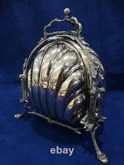 Vintage Silver Plate English Tri Fold Clam Shell Gilt Bun Warmer Biscuit Box