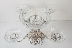 Vintage Silver Plate Epergne Royal Brierley Crystal Bowls Four Arm Large