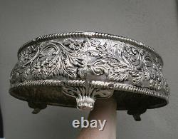 Vintage round Gilt metal brass silver plate Vanity MIRROR Tray Display plateau