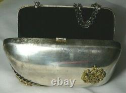 WWI Lady's Bag Box Silver-Plate Hallmarks Imperial Russia Nicholas II Brass 1917