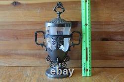 Webster Mfg Co Silver-plate Glass tea holder jar lid or pickle castor Vintage