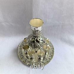 Wine Fountain DIVIDER Kiddush & 8 Goblets Silver plate Judaica Jerusalem