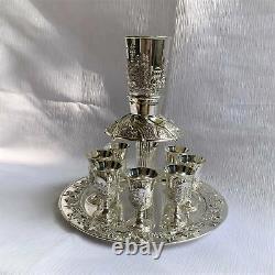 Wine Fountain Kiddush & 8 Goblets Silver plate Judaica